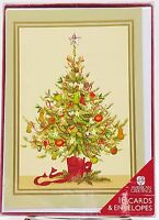 Vintage Old Fashioned Christmas Tree Festive Holiday Cards 18 count New