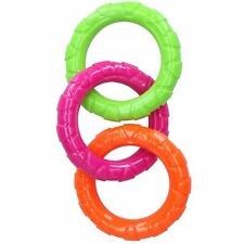 Dog Play Time Tough Rubber Mult-Coloured Rings Dog Toy Medium
