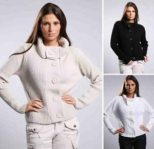 Ladies Sweater Front Button Womens Top Jumper Cardigan Knitted  size 8 10 12