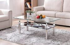 Tempered Glass Coffee Table Shelf Contemporary Cocktail Chrome Living Room New
