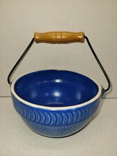 """Blue Ceramic Berry Basket 3"""" x 5.5"""" With Metal and Wooden Handle"""
