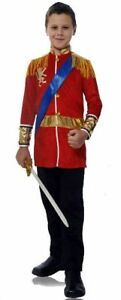 Prince Costume 2Pc Red Velour Fairytale/Military Style Top W/ Sash & Blk Pants