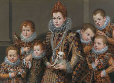 """oil painting""""a woman holding a dog and surrounded by six of her children """"@N8109"""