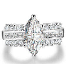 Cubic Zirconia Wedding Silver Ring Gift Fashion White Gold Filled Marquise Cut