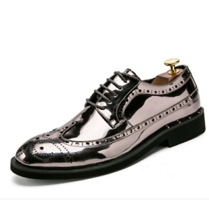 Mens Business Casual Lace Up Oxfords Patent Leather Brogues Party Dress Shoes