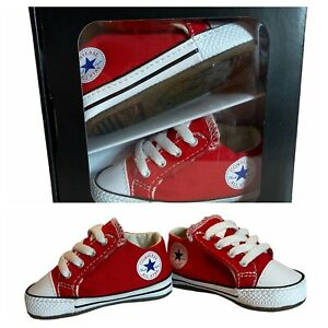 Infant Converse All Star Chuck Taylor Girls Boys Red Crib Shoes size 2 C EUC BOX