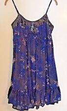 FRENCH CONNECTION Sundress Sequin Party Dress 2 Ruffle Mini Blue Black #C3