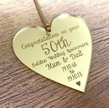 Personalised 50th Golden Wedding Anniversary Gifts Mum Dad Gold Decorations Gift