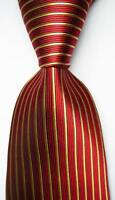 New Classic Striped Red Gold JACQUARD WOVEN 100% Silk Men's Tie Necktie