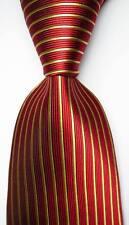 New Classic Striped Red Gold JACQUARD WOVEN 100% Silk Men's Tie Necktie