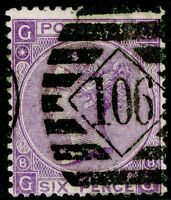 SG108, 6d dull violet PLATE 8, USED. Cat £90. GG