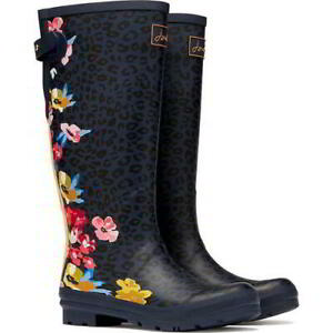 Joules Welly Print Womens Ladies Blue Tall Wellington Boots Wellies Size 4-8