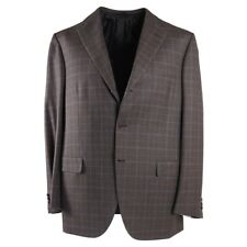 NWT $6200 BRIONI Brown and Sky Blue Layered Check Wool Suit 44 R