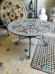Table Mosaic, Round Zellige table, outdoor indoor tilles table, Zellige table
