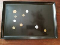 "COUROC OF MONTEREY INLAID WORLD COINS SERVING TRAY 18"" X 12.5"" MCM VTG"