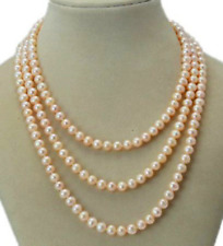 "Long 36"" 7-8mm Real Natural Pink Akoya Cultured Pearl Without Clasp Necklace"