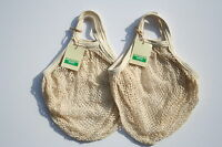 Pack of 2 Boulevard String Shopping Bag,recycled unbleached cotton,Short Handles