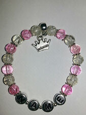 Personalised Princess Charm Beaded Bracelet Girl Birthday Gift Party Bags