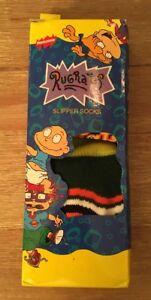 Vintage 1999 Nickelodeon Rugrats Kids 8+ Slipper Socks - Chuckie - New in Box
