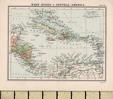 c1860 Victorian Map ~ West Indies & Central America ~ Cuba Jamaica Costa Rica