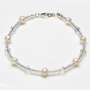Glass Pearl and Swarovski Bicone Crystal Anklet