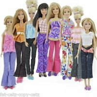 5x BARBIE DOLL SIZED CLOTHING JEANS TOP BLOUSE SHIRT OUTFITS, 5 SHOES 5 HANGERS