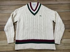 VTG 80's Izod Lacoste Thick Cable Knit Tennis Cricket Sweater L Alligator White