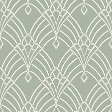 ASTORIA ART DECO WALLLPAPER DUCK EGG / SILVER - RASCH 305333 GLITTER