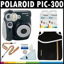 Polaroid PIC-300 Instant Film Analog Camera Black with 2 Polaroid 300 Instant...