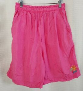 Vintage Hot Pink Nylon Workout Shorts with Embroidery