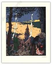 Sérigraphie Savard Dick Hérisson Le village signée 29,8x37 cm