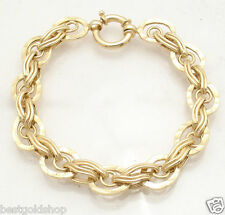 "7.5"" Technibond Hammered Cat's Tiger's Eye Bracelet 14K Yellow Gold Clad Silver"