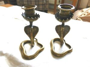 PAIR OF ANTIQUE SOLID BRASS HOODED COBRA SNAKE STYLE CANDLE HOLDERS  1630561/566