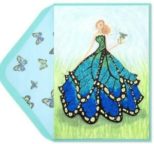 Papyrus Bella Pilar Birthday card Butterfly Girl with Glitter Gown - Glamour!