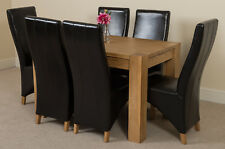 Kuba Chunky 125cm Kitchen Solid Oak Dining Table and 6 Black Leather Chairs