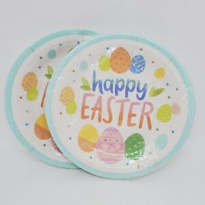 """Lot of 2: Spritz """"happy Easter"""" Paper Plates 7"""" White Snack Size Eggs NEW Sealed"""