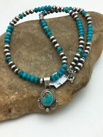 Navajo Sterling Silver Blue Turquoise Necklace  Pendant Set 21 in 2558