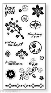 New FISKARS FLORAL FLAIR Unmounted Cling Rubber Stamp Flowers Love Memories