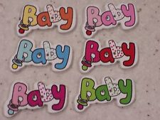 NEW 20 x Mixed 'Baby' White Wooden Buttons 36x22mm - FREE P&P!