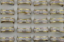 Wholesale Lots 32pcs Charm Clear Filled Rhinestone Stainless Steel Rings AH249