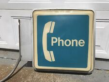 Lighted Two Sided Pay Phone Telephone Sign With Flange Bracket
