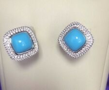 Rope motif Turquoise and White diamonds  halo Huggies  in 14k White gold