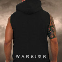 Mens Black Gym Spartan Sleeveless Hoodie Warrior Sports Athletics MMA Hoody Army