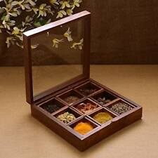 Wooden Multipurpose Wooden Spice Box | Indian Mouthfreshner Box - A&E (Brown)