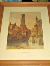 Brugge Ancient Town Flanders by F Stroobant del et lith Prof Framed 36x45.75cm