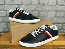 TOMMY HILFIGER MENS UK 9 EU 43 ESSENTIAL LEATHER TRAINERS NAVY BLUE RRP £90 J
