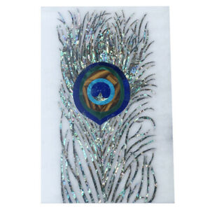 """12""""x18"""" White Marble Coffee Table Top Peacock Feather MOP Inlay Arts Decors W049"""