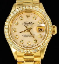 Rolex Ladies Datejust Date President 18K Gold Diamond Dial/Bezel Quick Set