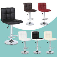 Set of 2 Bar Stools Modern Design Leather Adjustable Swivel Pub Chair In Black