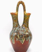 "Southwest Indian Wedding Vase Studio Art Pottery Drip Glaze Green Brown 14"" Sign"